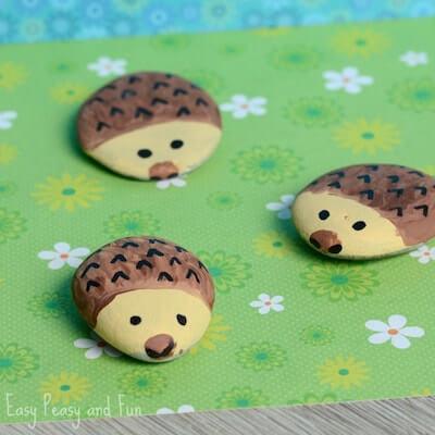 Hedgehog Painted Rocks by Easy Peasy Fun