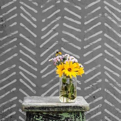 Herringbone Wall Stencil by Stencils Lab NY
