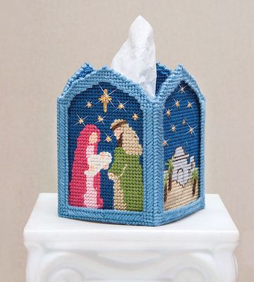 Holy Night Plastic Canvas Tissue Box Cover by Mary Maxim