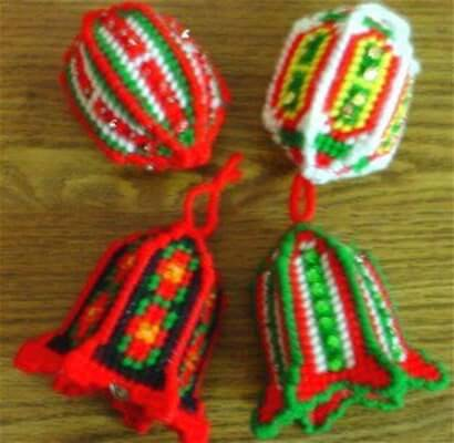 Jingle Bell Ornaments Plastic Canvas Pattern by Dancing Dolphin Crafts