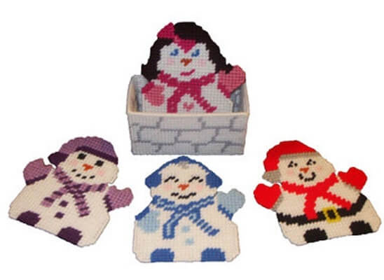Jolly Snow People Coaster Plastic Canvas Pattern by Rainbow Pony Designs