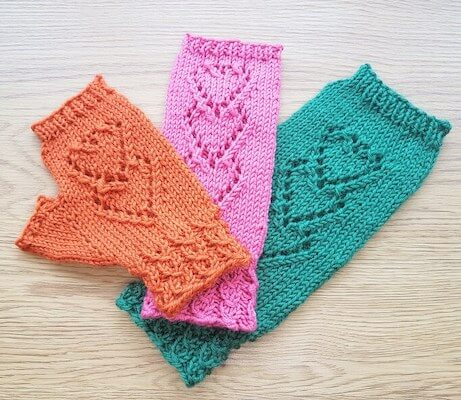 Lace Hearts Fingerless Gloves Knitting Pattern by Sophie's Knit Stuff