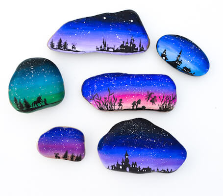 Magical Landscape Silhouette Painted Rocks by Adventure In A Box