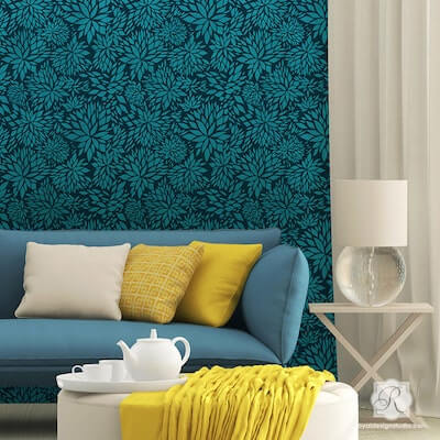 Modern Flower Wall Stencil for Painting by Royal Stencils