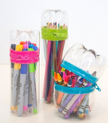 No-Sew Zipper Cases From Plastic Bottles by Make It & Love It