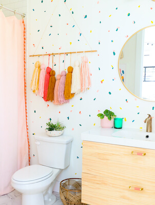 Painted Terrazzo Confetti Accent Wall by A Kailo Chic Life
