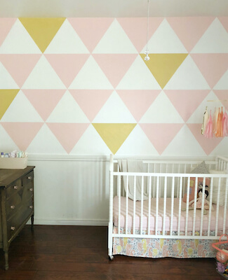 Painted Triangle Accent Wall by Lolly Jane