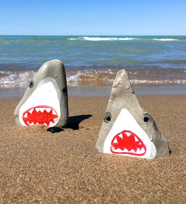 Shark Painted Stones by Sustain My Craft Habit
