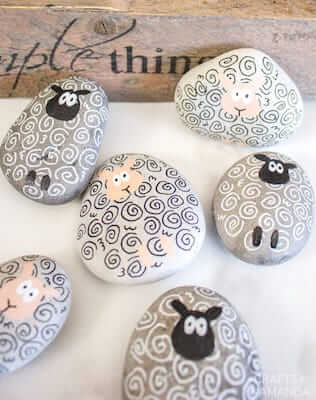 Sheep Painted Rocks by Crafts By Amanda