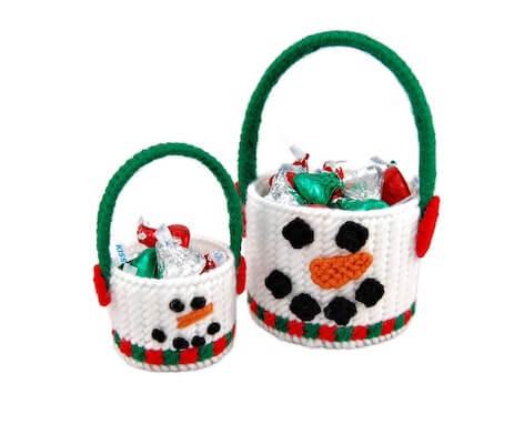 Snowman Basket Plastic Canvas Pattern by Little Sapphire