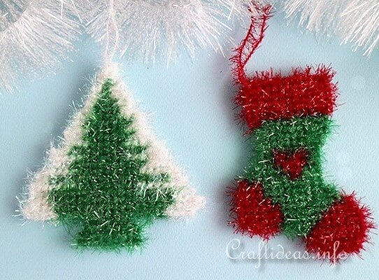 Sparkly Plastic Canvas Christmas Tree Ornaments by Crafts Idea
