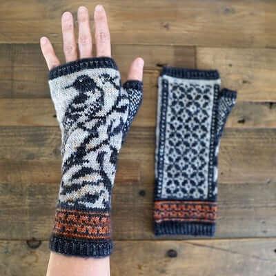 Springbound Fingerless Gloves Knitting Pattern by Erica Heusser Designs