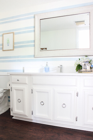 Washed Out Stripes Bathroom Accent Wall by Rain On A Tin Roof