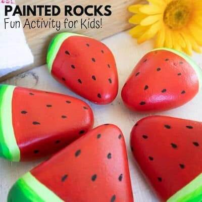 Watermelon Painted Rocks by Mum In The Mad House