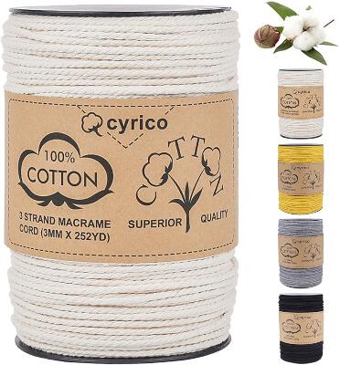 Cyrico Natural Cotton Macrame Cord 3mm x 260 Yards