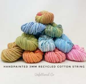 Hand Painted 3mm Recycled Cotton Macrame String