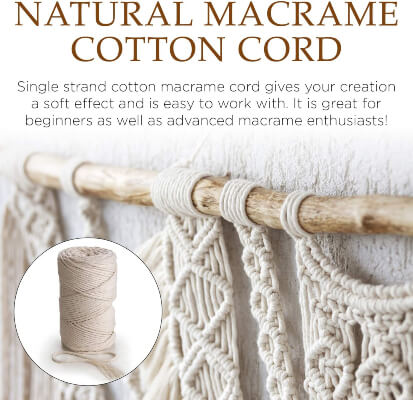 Natural Cotton Macrame Puzzle Cord 7 Colors Yards Organic Macrame Rope