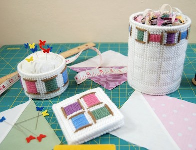 Cheery Spool Sewing Accessories In Plastic Canvas by Little Sapphire