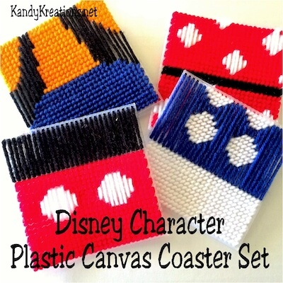 Disney Character Plastic Canvas Coaster Set Pattern by DIY Party Mom
