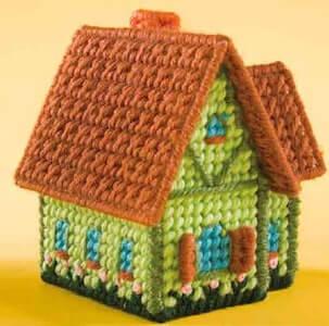 Mini Village Houses Plastic Canvas Pattern by Fairy Penguin Crafts