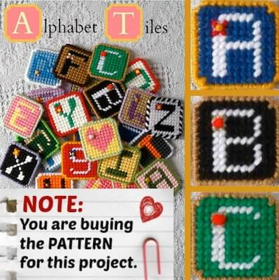 Plastic Canvas Alphabet Tiles Pattern by Ready Set Sew by Evie