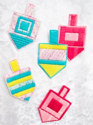 Plastic Canvas Dreidel Ornament Craft by Creative Jewish Mom