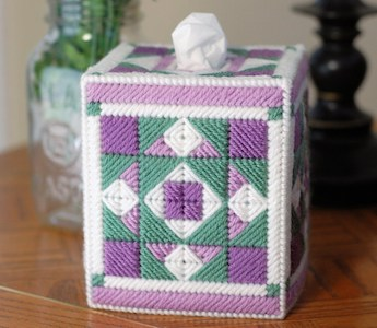 Plastic Canvas Quilted Tissue Box Cover Pattern by Little Sapphire