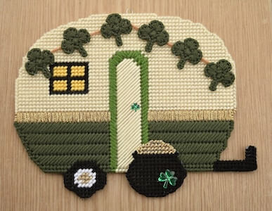 St. Patricks Day Retro Camper Plastic Canvas Pattern by Craft A Happy Home